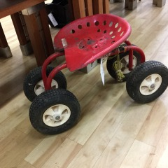 Vintage Red Metal Rolling Garden Cart -COLLECTIBLES