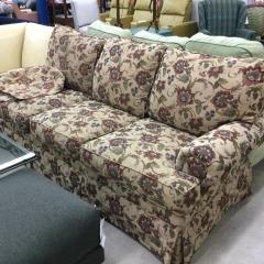 \u201cTemple\u201d Tan Sofa with Botanical Print Fabric - BETTER\/NEW FURNITURE