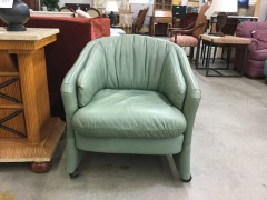 LeatherCraft Green Leather Rolling Club Chair -BETTER\/NEW FURNITURE