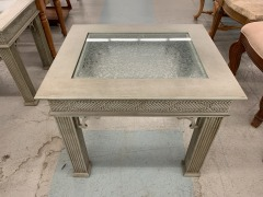Green Side Table with Glass