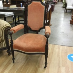 Victorian Chair with Orange Velvet - COLLECTIBLES