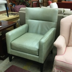 LeatherCraft Mint Green Leather Club Chair - BETTER\/NEW FURNITURE