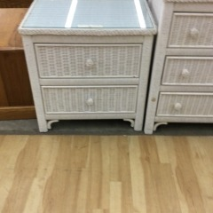 White Wicker Nightstand - GENTLY USED FURNITURE