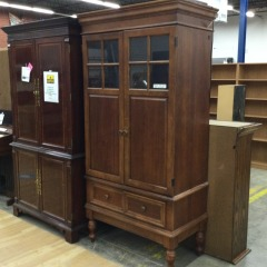 TV Armoire with 2, 4-pane windows and 1 drawer - GENTLY USED FURNITURE