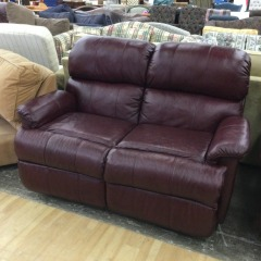 Burgandy Leather Loveseat - GENTLY USED FURNITURE