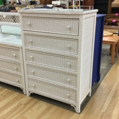 White Wicker Chest of Drawers - GENTLY USED FURNITURE
