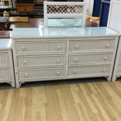 White Wicker Dresser with Mirror - GENTLY USED FURNITURE