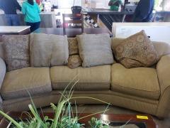 Brown cloth sofa