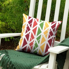 NEW Garden Treasures Geometric Levi Lattice Red Square Patio Throw Pillow