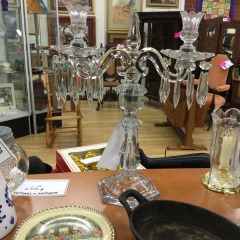 Tall Glass Candelabra with Prisms - COLLECTIBLES