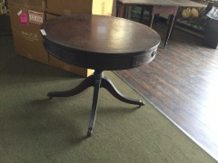 Old Leather Top Game Table with Drawer - GENTLY USED FURNITURE