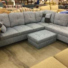 Medium Blue Sectional with Storage Ottoman - GENTLY USED FURNITURE