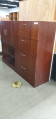Brown wood filing cabinet