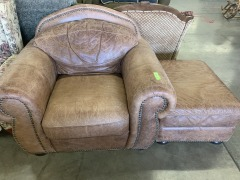 Brown leather armchair w\/ ottoman